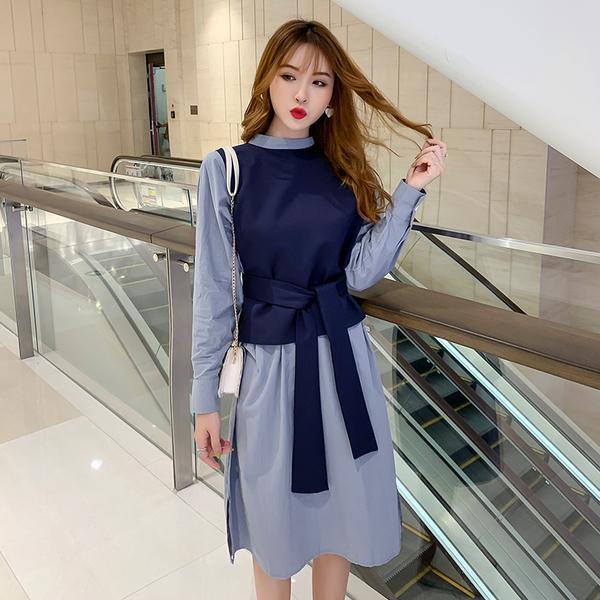 VK旗艦店 韓系顯瘦百搭襯衫綁帶上衣套裝長袖裙裝