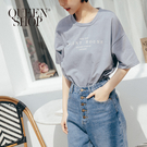 Queen Shop【01038307】MIT 百搭字母印花短袖棉T 兩色售*現+預*