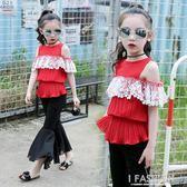 女童夏季套裝2018新款韓版時髦女孩兒童衣服喇叭褲短袖洋氣兩件套-Ifashion