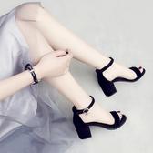 涼鞋女一字扣帶中跟高跟鞋粗跟