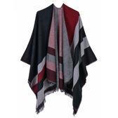 仿羊絨披肩-寬條紋雙面短流蘇男女圍巾5色73we18【巴黎精品】
