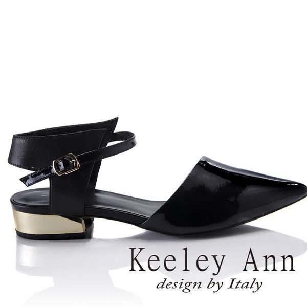 ★2018春夏★Keeley Ann獨特魅力~簡約設計感素色真皮尖頭跟鞋(黑色) -Ann系列