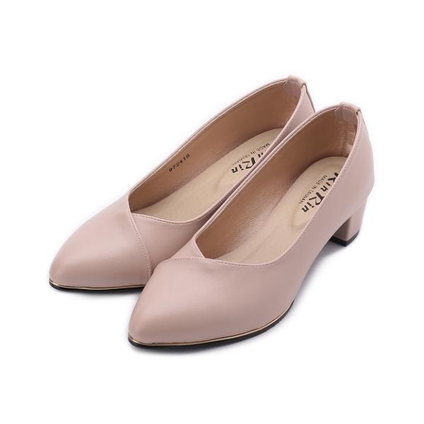 RIN RIN 特大尺碼 小尖頭V口跟鞋 杏 女鞋