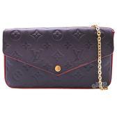 【Louis Vuitton 路易威登】M64099 Pochette Felicie 牛皮壓紋信封式鍊包(海軍藍)