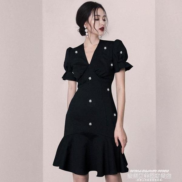 小禮服 法式復古小眾赫本風禮服小黑裙魚尾裙連身裙輕奢宴會禮服平時可穿 萊俐亞