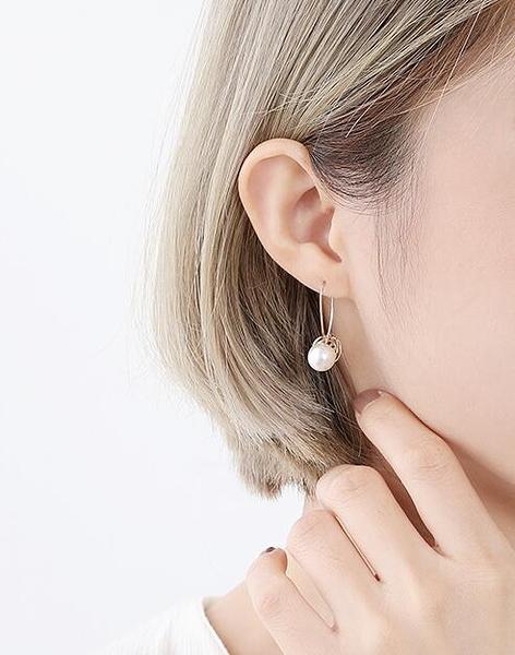 高級感法式珍珠耳環女夏天清新百搭耳墜