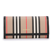 BURBERRY經典條紋環保帆布壓釦長夾(典藏米色)080214