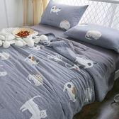 水洗舒柔雙人床包涼被組-貓咪灰【BUNNY LIFE邦妮生活館】
