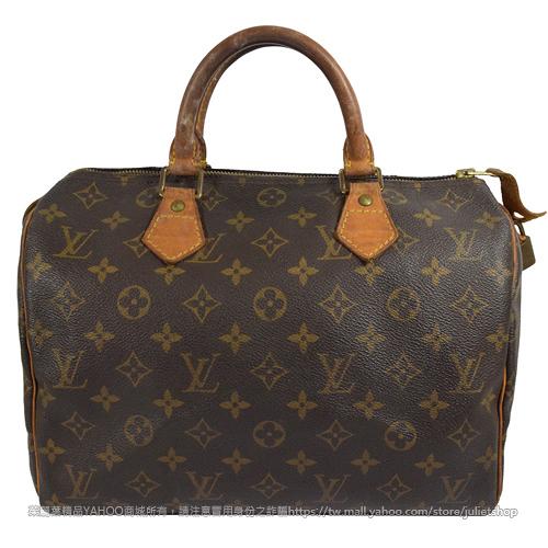 茱麗葉精品 二手精品 【8成新】Louis Vuitton M41526 Speedy 30 經典花紋手提包