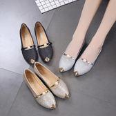 豆豆鞋女平底亮片串珠尖頭單鞋學生休閒平跟鞋 愛麗絲精品