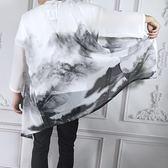 中式唐裝改良漢服中國風男裝居士披風外套民族風古裝道袍衣夏長衫 「爆米花」