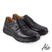 A.S.O 超能耐二代 油感牛皮氣墊休閒皮鞋 黑