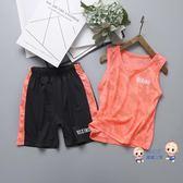 運動套裝 男童迷彩速幹套裝戶外兩件套女童夏季中大童兒童運動無袖背心短褲 2色