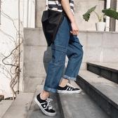 牛仔褲男潮ins韓版潮流學生寬鬆直筒多口袋bf工裝原宿風網紅褲子  降價兩天