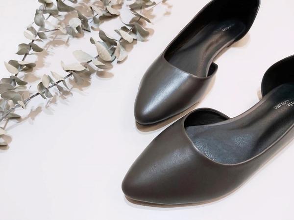 大尺碼女鞋小尺碼女鞋橢尖頭側挖素面娃娃鞋平底鞋包鞋(31-48)現貨#七日旅行