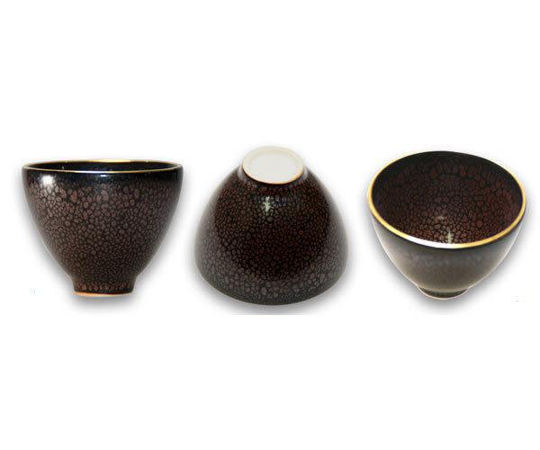 鹿港窯~ 居家開運珍藏~窯變釉茶杯【金彩油滴天目對杯】◆附精美盒