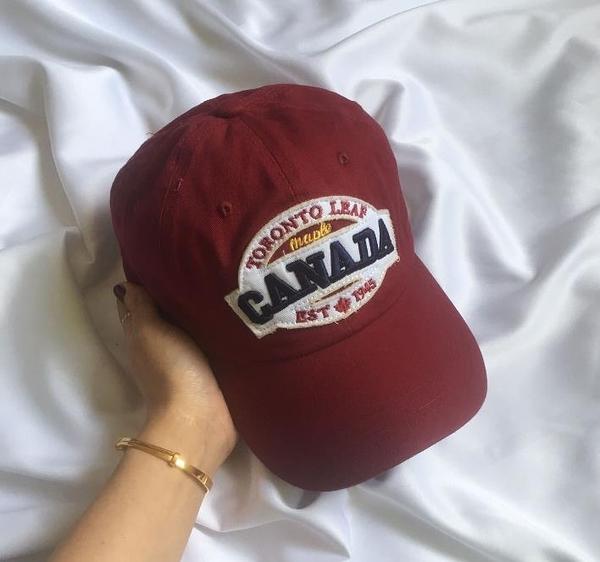 INSI風百搭美式復古做舊CANADA英文刺繡鴨舌帽可調節棒球帽子男女