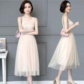夏季洋裝網紗打底裙莫代爾寬鬆內搭長裙大碼蕾絲背心連身裙女 韓慕精品