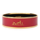 HERMES Caleche經典馬車LOGO琺瑯窄版手環(紅金色)370010-1