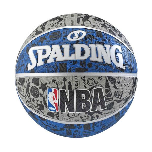 Spalding NBA [SPA83176] 籃球 7號 塗鴉 室外 柏油 水泥地 耐磨 附球針 球網 灰藍