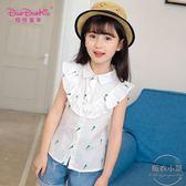 女童夏裝襯衫新款兒童棉質白色襯衣寶寶夏季薄款短袖上衣韓版 【販衣小築】