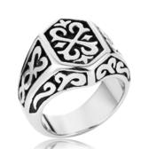 《 QBOX 》FASHION 飾品【RBR8-215】精緻個性復古花圖紋符號鑄造鈦鋼戒指/戒環