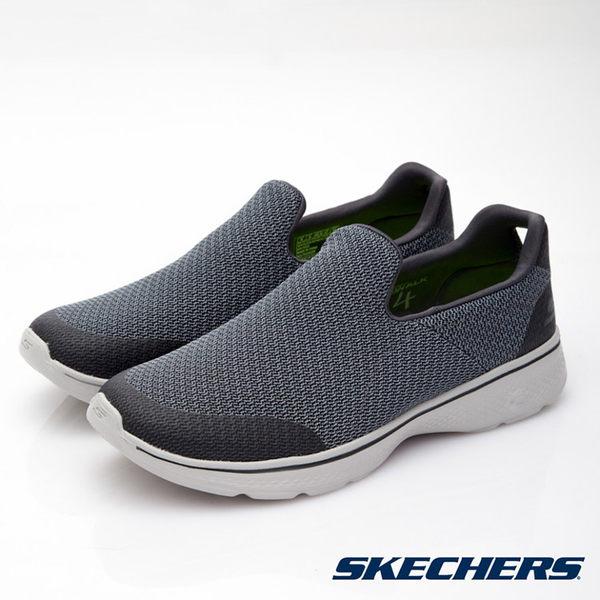 SKECHERS 男款 GO Walk 4 健走鞋54155 CHAR / 城市綠洲 (美國品牌、輕量、避震、運動休閒鞋)