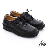 A.S.O 抗震雙核心 真皮拼接網布綁帶奈米休閒鞋  黑