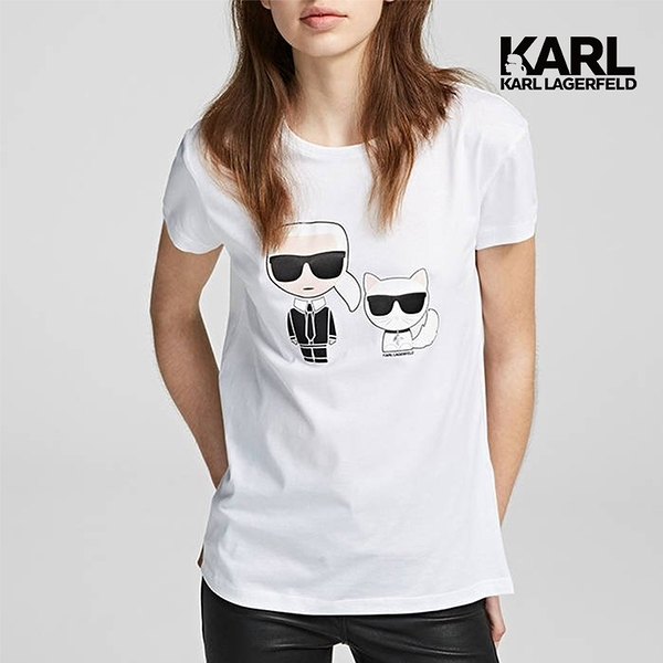 (58折 絕對經典)【KARL LAGERFELD】IKONIK&CHOUPETTE T恤-白