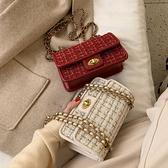 韓版毛呢鍊條包包女潮冬季時尚單肩包質感洋氣斜背小包