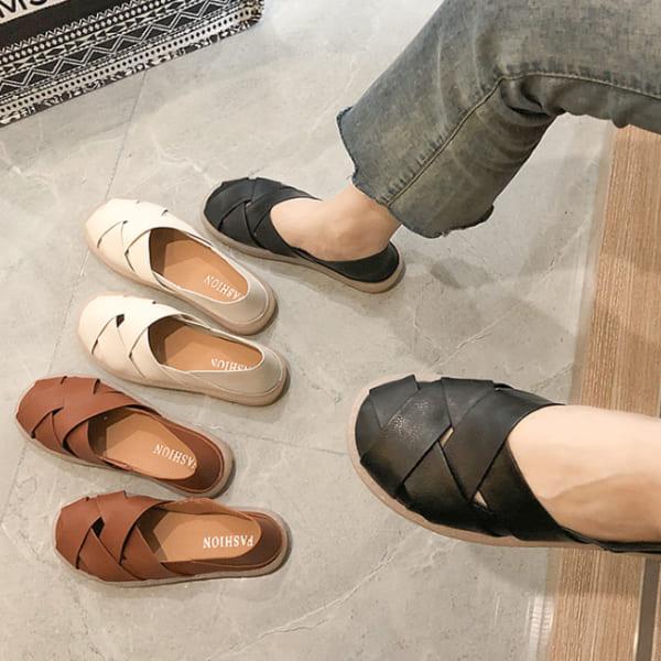 【35-43全尺碼】懶人鞋.日本雜誌款魚骨編織厚底休閒包鞋.白鳥麗子