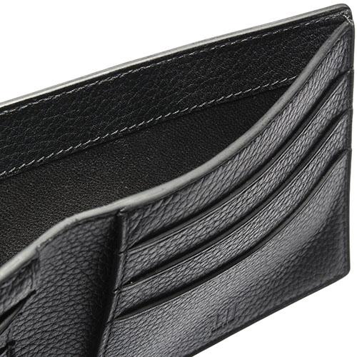 Dunhill Boston質感自然皮紋圓珠LOGO多卡格短夾(黑色)257368