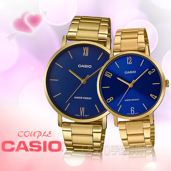 CASIO 手錶專賣店 卡西歐 MTP-VT01G-2B+LTP-VT01G-2B 指針對錶 不鏽鋼錶帶 生活防水 礦物玻璃