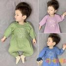 嬰兒哈衣薄款中袖空調服爬服純棉睡衣【淘嘟嘟】