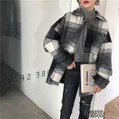 秋冬季韓版女裝寬鬆BF風中長款格子毛呢外套復古百搭呢子大衣開衫 街頭布衣