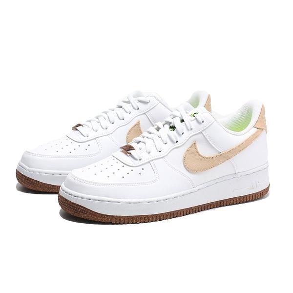 NIKE 休閒鞋 AF1 FORCE 1 RHUBARB 白 奶茶 卡其 植物 刺繡 男 (布魯克林) CZ0338-101