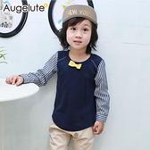 長袖上衣 假兩件 小領結 條紋 拼接袖 男童 小紳士 小花童 Augelute 47132