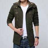男士風衣外套夾克中長版純棉外衣 優樂居