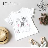 純棉 卡通 塗鴉小鹿印花甜美荷葉袖上衣 竹節棉 童話 插畫 短袖 女童【哎北比童裝】