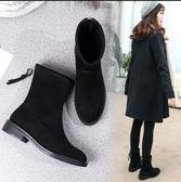 秋冬新品 韓版短靴女百搭平跟學生中筒靴平底彈力靴馬丁靴加絨