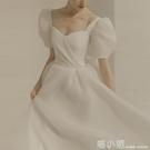 法式輕婚紗小禮服2021新款超仙森系白色簡約新娘結婚登記跟拍禮服 喵小姐