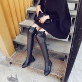 靴子 秋冬加絨保暖長筒高筒綁帶過膝長靴《小師妹》sm442