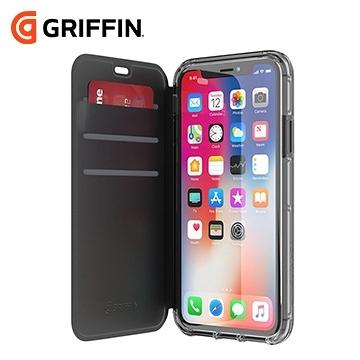 Griffin Survivor Wallet iPhone Xs/X 黑色側翻透黑背蓋防摔皮套