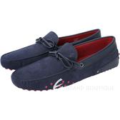 TOD'S FOR FERRARI GOMMINO 麂皮拼接綁帶豆豆休閒鞋(深藍色) 1620553-34