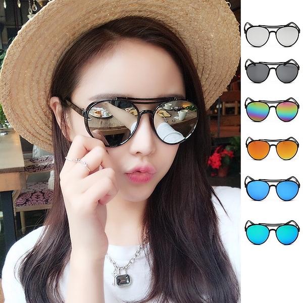 圓框鐳射彩色雷朋反光墨鏡 太陽眼鏡 可搭比基尼草帽罩衫涼鞋【RG315】