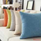 抱枕 素色辦公室沙發靠墊加厚汽車靠枕純色家用麻布大抱枕靠背腰靠腰枕 23色