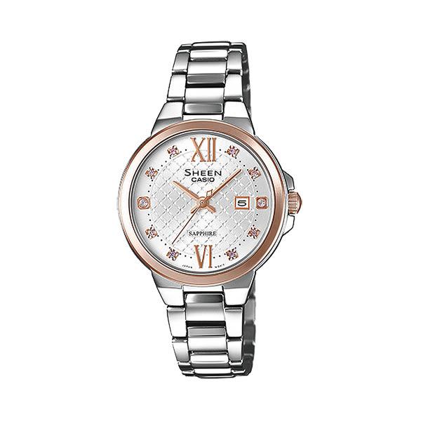 CASIO SHEEN 永花雅印日期晶鑽腕錶-SHE-4524SPG-7AUDR