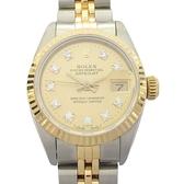 ROLEX 勞力士 18K金鑲10顆鑽不銹鋼蠔式恆動日誌型女錶 Ladies Datejust 1990 69173