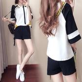 休閒運動套裝女夏裝潮新品短袖寬鬆學生日韓顯瘦棉質運動服兩件套【快速出貨】