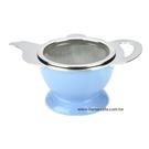 金時代書香咖啡 CafeDe Tiamo 茶壺造型不鏽鋼杓形濾網組 (附陶瓷底座) HG2818B